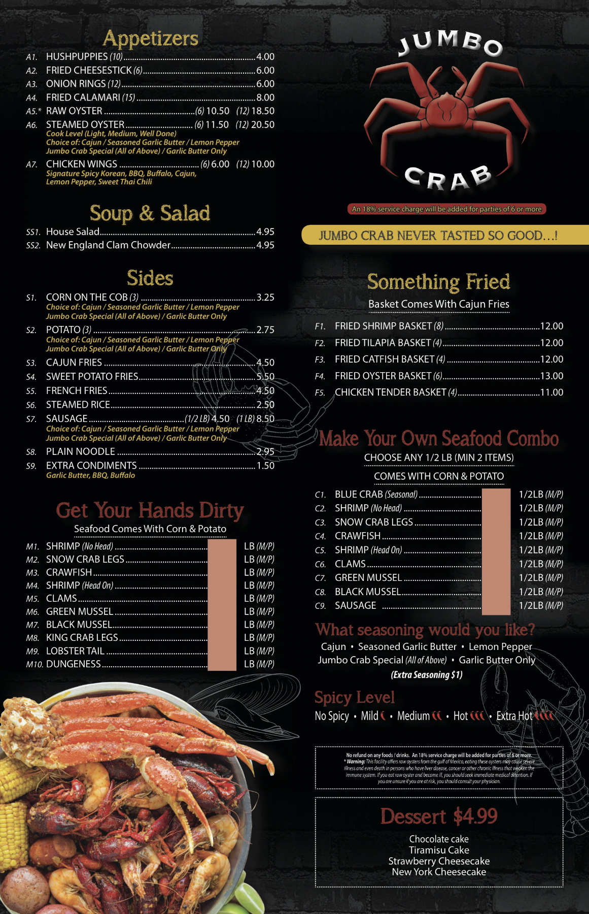 Jumbo crab Chicago menu